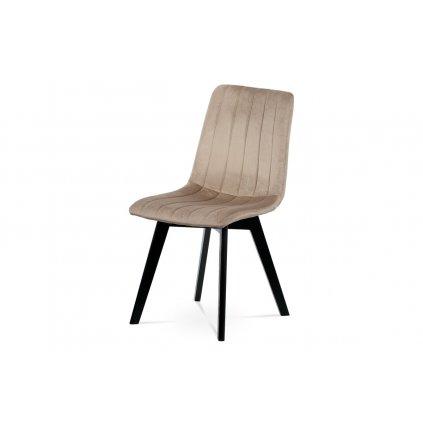Štýlová stolička, krémovou zamatovou látkou, masívne bukové nohy, čierny matný lak