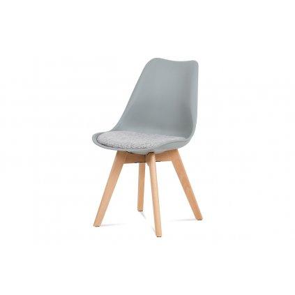 jedálenská stolička, sivý plast, sivá látka, natural