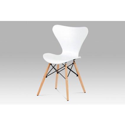 jedálenská stolička plast biely/masív buk