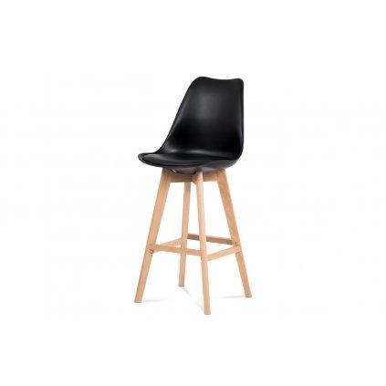 barová stolička plast, sedák čierna ekokoža/nohy masív prírodný buk