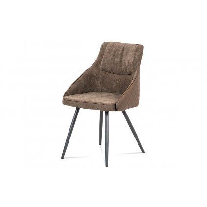 jedálenská stolička, lanýžová látka+ekokoža, kov sivý mat