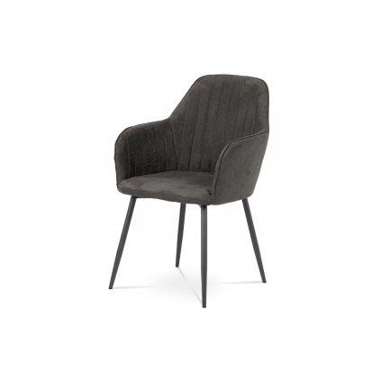 jedálenská stolička, šedá látka, kov sivý mat