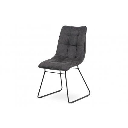 jedálenská stolička, sivá látka, kov matný čierny