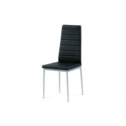 jedálenská stolička, koženka čierna, sivý lak