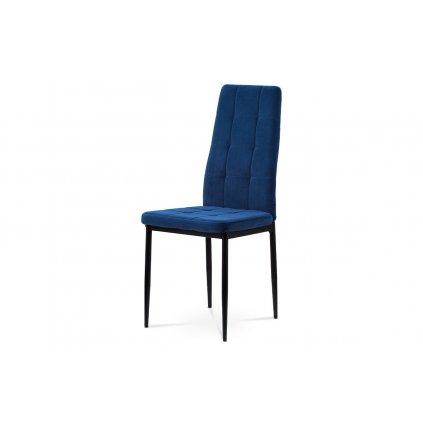 Jedálenská stolička, čalúnená príjemnou lanýžovou modrou látkou kovová štvornohá podnož, čierny matný lak