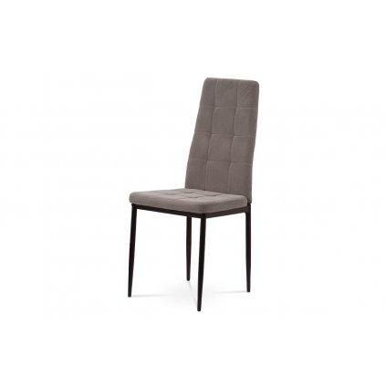 Jedálenská stolička, čalúnená príjemnou lanýžovou zamatovou látkou kovová štvornohá podnož, čierny matný lak
