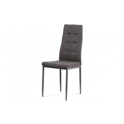 jedálenská stoličky sedák látka šedá/kovové nohy matný lak