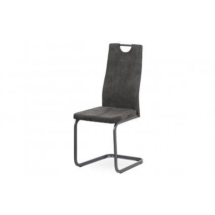 jedálenská stolička, sivá látka, sivý kov mat