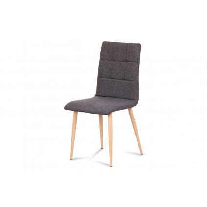 jedálenská stolička, strieborná látka, kov dekor buk