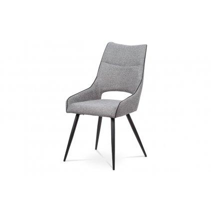 jedálenská stolička, látka šedá,čierna paspule, kov podnož, čierny matný lak