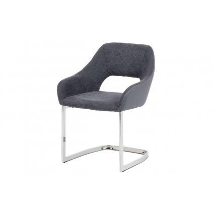 stolička látka+ekokoža, farba šedá/nohy kov chróm