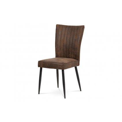 jedálenská stolička látka svetlá hnedá / brúsený kov antik