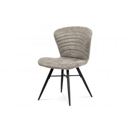 jedálenská stolička, lanýžová látka vintage, kov čierny mat