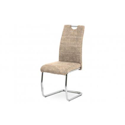 Jedálenská stolička, poťah krémová látka COWBOY v dekore vintage kože, kovová chrómovaná perová podnož