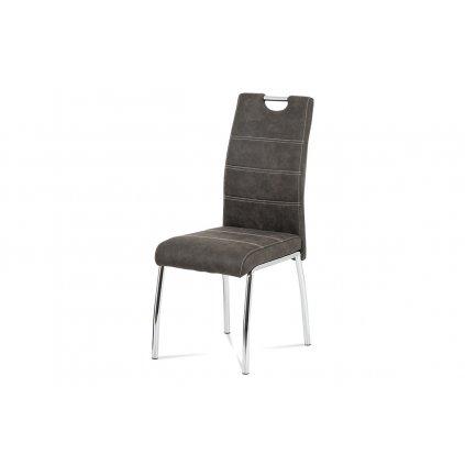 Jedálenská stolička, poťah sivá látka COWBOY v dekore vintage kože, biele prešitie, kovová štvornohá chrómovaná podnož
