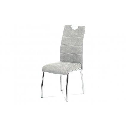Jedálenská stolička, strieborná látka COWBOY v dekore vintage kože, biele prešitie, kovová štvornohá chrómovaná podnož
