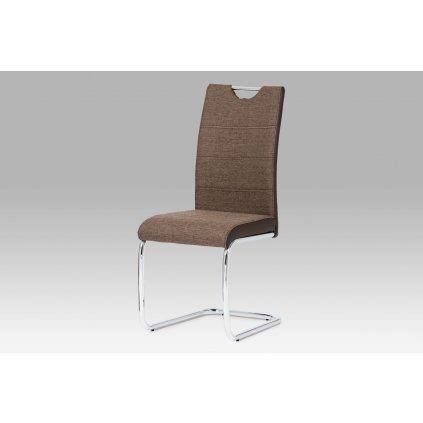 jedálenská stolička, látka hnedá, boky koženka hnedá, chróm