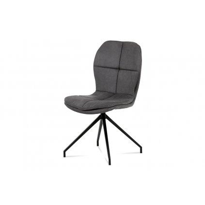 Jedálenská stolička, poťah sivá látka COWBOY v dekore vintage kože, kovová štvornohá podnož v čiernom matnom laku