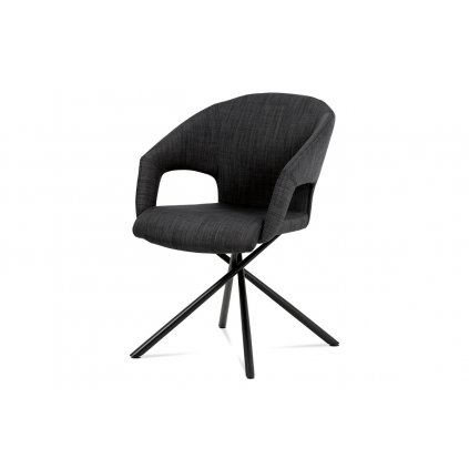 jedálenská stolička sedák látka šedo čierna/ nohy lakovaný kov