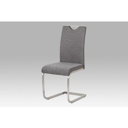 jedálenská stolička látka sivá + koženka sivá / brúsený nerez