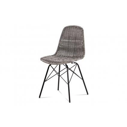 stolička, kov čierny / umelý ratan sivý