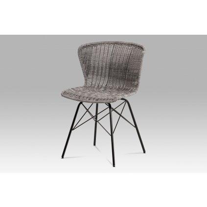 jedálenská stolička umelý ratan šedý/ nohy čierny kov