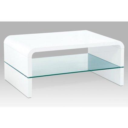 konferenčný stolík 90x60x40cm, MDF biely vysoký lesk, číre sklo