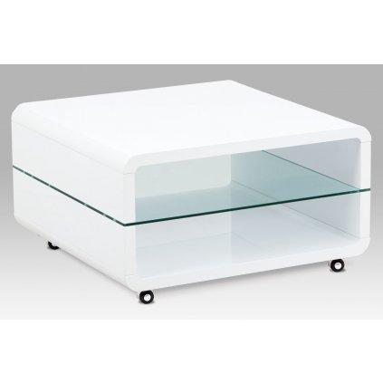 konferenčný stolík 80x80x40, MDF biely vysoký lesk, čiré sklo, pojazd