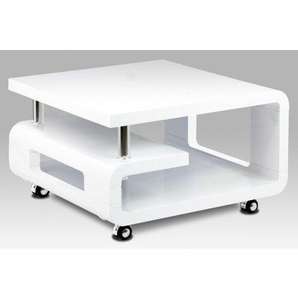 konferenčný stolík 70x70,biela MDF vysoký lesk,chróm,4 kolieska