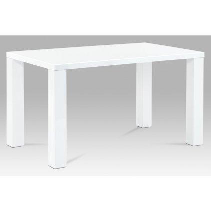 jedálenský stôl 135x80x76cm, vysoký lesk biely