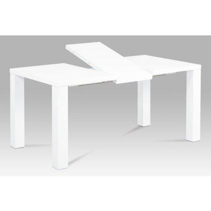 jedálenský stôl rozkladací 120-160x90x75cm, vysoký lesk biely