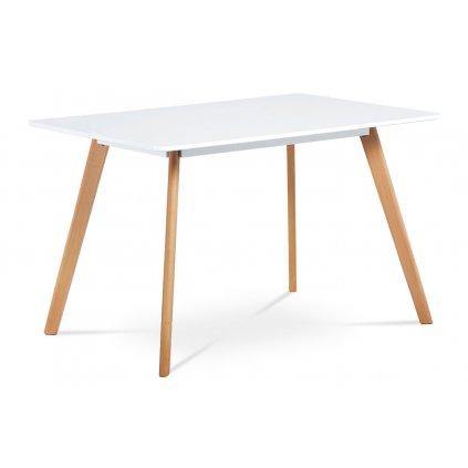 jedálenský stôl,120x80 cm, biela matná MDF, masiv buk