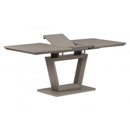 jedál. stôl rozkl.140+40x80x76 cm,MDF doska matná lanýžová, lanýž sklo satin