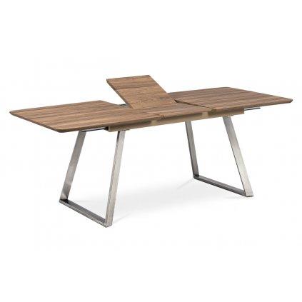 Štýlový jedálenský stôl rozkladací TMAVÝ DUB,nohy BRÚSENÝ NEREZ 160x90+40cm