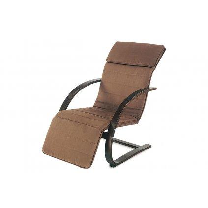 relax kreslo s výklopnou podnožou, hnedé drevo, látka hnedá