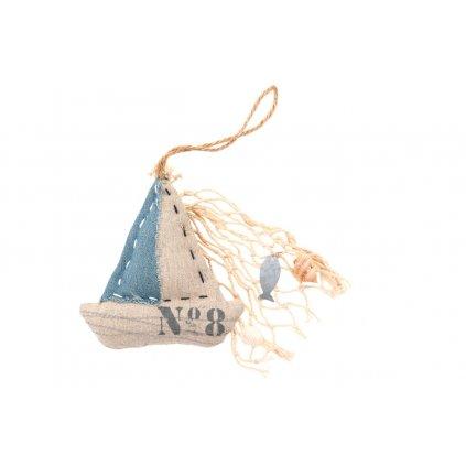 Loďka,textilná dekorácia na zavesenie 11x28cm