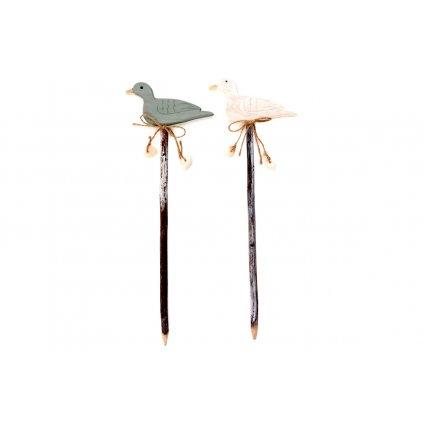 vtáčik,zápich drevená dekorácia 12x34 cm