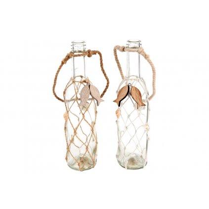 fľaška, sklenená dekorácia 6x26 cm, cena za 1 kus
