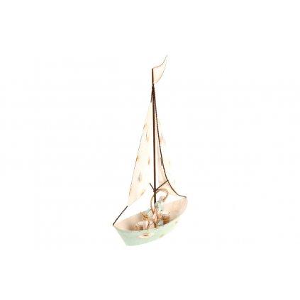 Plachetnica, kovová dekorácia 36x21x7 cm