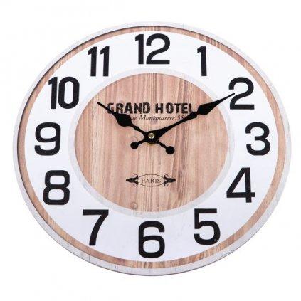 Drevené hodiny grand hotel hnedo biele 34 ×1 ×34 cm