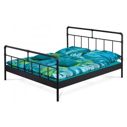 Kovová industriálna  dvojlôžková posteľ,  čierny matný lak 180x200 cm