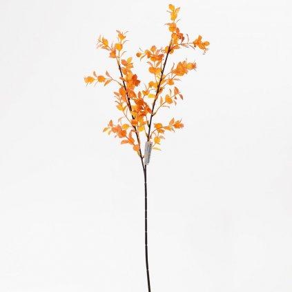 Umelá vetvička s malými lístkami žlto - oranžové  70cm