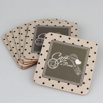 korkové podložky cafe Paris pod šálku 6ks v balení 10×0,5×10cm