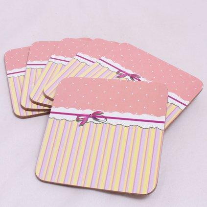 Podložka pod šálku rúžové s bodkami cena za 6ks 10×0,5×10cm