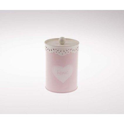 Plechová dóza ružová so srdiečkom,9,6 × 14,8 × 9,6 cm