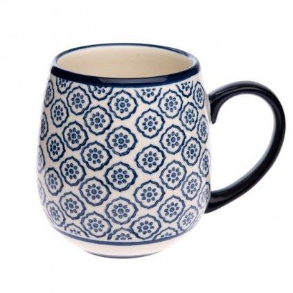 Keramický hrnček so vzorom modrých kvietkov,390ml