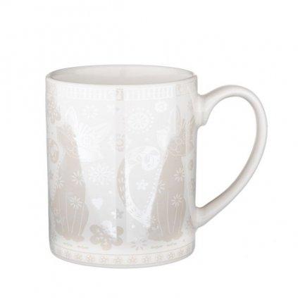hrnček srdiečka porcelánový biely 380ml 10×8,3×8cm