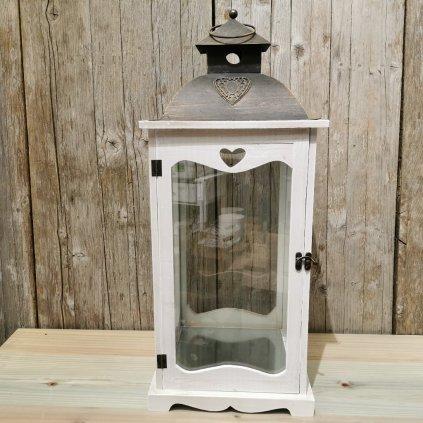 LAMPÁŠ so srdcom Drevený /KOV ANTIC biela patina 25,5X25,5X61,5cm
