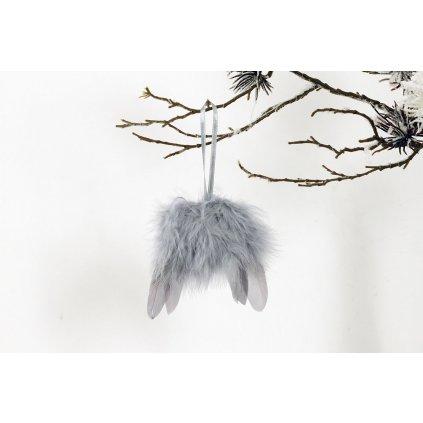 Anjelské krídla z peria, farba šedá, 8x8cm