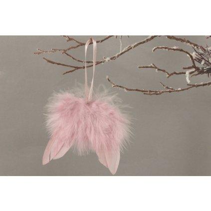 Anjelské krídla z peria, farba ružová, 8x8cm, cena za jeden kus